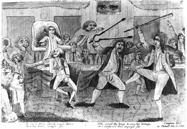 An archival drawing of a brawl in Congress between Lyon and Griswold, Philadelphia, Feb. 15, 1798.